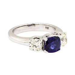 14KT White Gold 0.99 ctw Sapphire and Diamond Ring
