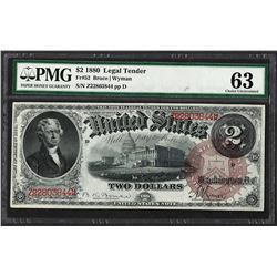 1880 $2 Legal Tender Note Fr.52 PMG Choice Uncirculated 63