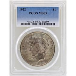 1922 $1 Peace Silver Dollar Coin PCGS MS63