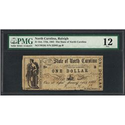 1861 $1 The State of North Carolina Obsolete Note PMG Fine 12