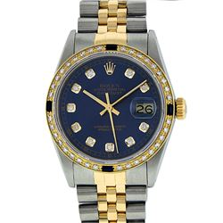 Rolex Men's Two Tone 14K Blue Diamond & Sapphire Datejust Wristwatch
