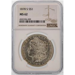 1878-S $1 Morgan Silver Dollar Coin NGC MS62