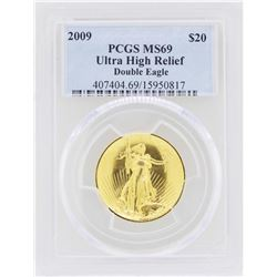 2009 $20 Ultra High Relief Double Eagle Gold Coin PCGS MS69