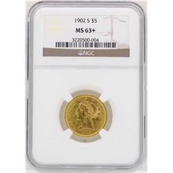 1902-S $5 Liberty Head Half Eagle Gold Coin NGC MS63+