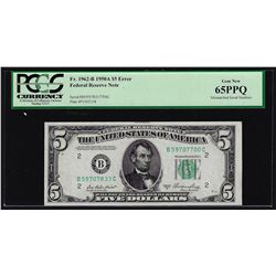 1950A $5 Federal Reserve Note 3 Digit Mismatched Serial Number ERROR PCGS Gem 65