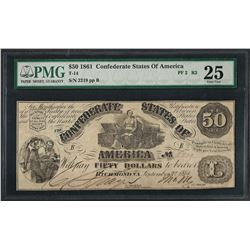 1861 $50 Confederate States of America Note T-14 PMG Very Fine 25 Net