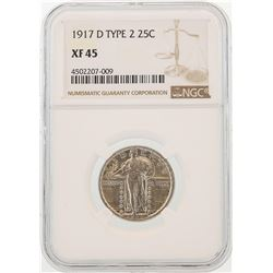 1917-D Type 2 Standing Liberty Quarter Coin NGC XF45