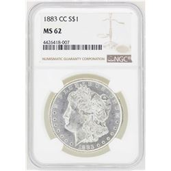 1883-CC $1 Morgan Silver Dollar Coin NGC MS62