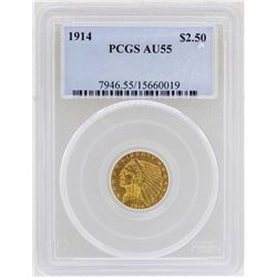 1914 $2 1/2 Indian Head Quarter Eagle Gold Coin PCGS AU55