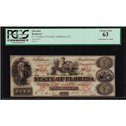 1864 $5 State of Florida Tallahassee Obsolete Bank Note PCGS Choice New 63