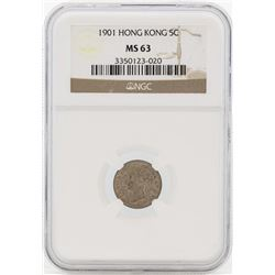 1901 Hong Kong 5 Cents Silver Coin NGC MS63