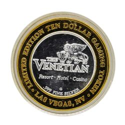 .999 Silver The Venetian Las Vegas, NV $10 Casino Limited Edition Gaming Token