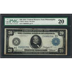 1914 $20 Federal Reserve Note Philadelphia Fr.972 PMG Very Fine 20