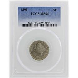 1890 Liberty V Nickel Coin PCGS MS64