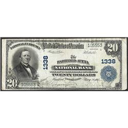 1902 PB $20 Hartford-Aetna, CT National Currency Note CH# 1338
