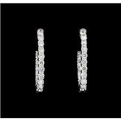 14KT White Gold 2.00 ctw. Diamond Hoop Earrings
