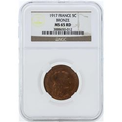 1917 France 5 Centimes Bronze Coin NGC MS65RD