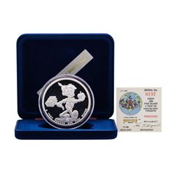 1988 Rarities Mint Walt Disney Pinocchio 5 oz .999 Silver Coin w/Box & COA