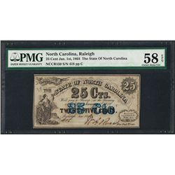 1863 25 Cent State of North Carolina Obsolete Note PMG Choice About Uncirculated