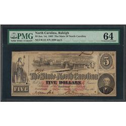 1863 $5 The State of North Carolina Obsolete Note PMG Choice Uncirculated 64