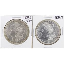 Lot of 1887 & 1887-O $1 Morgan Silver Dollar Coins