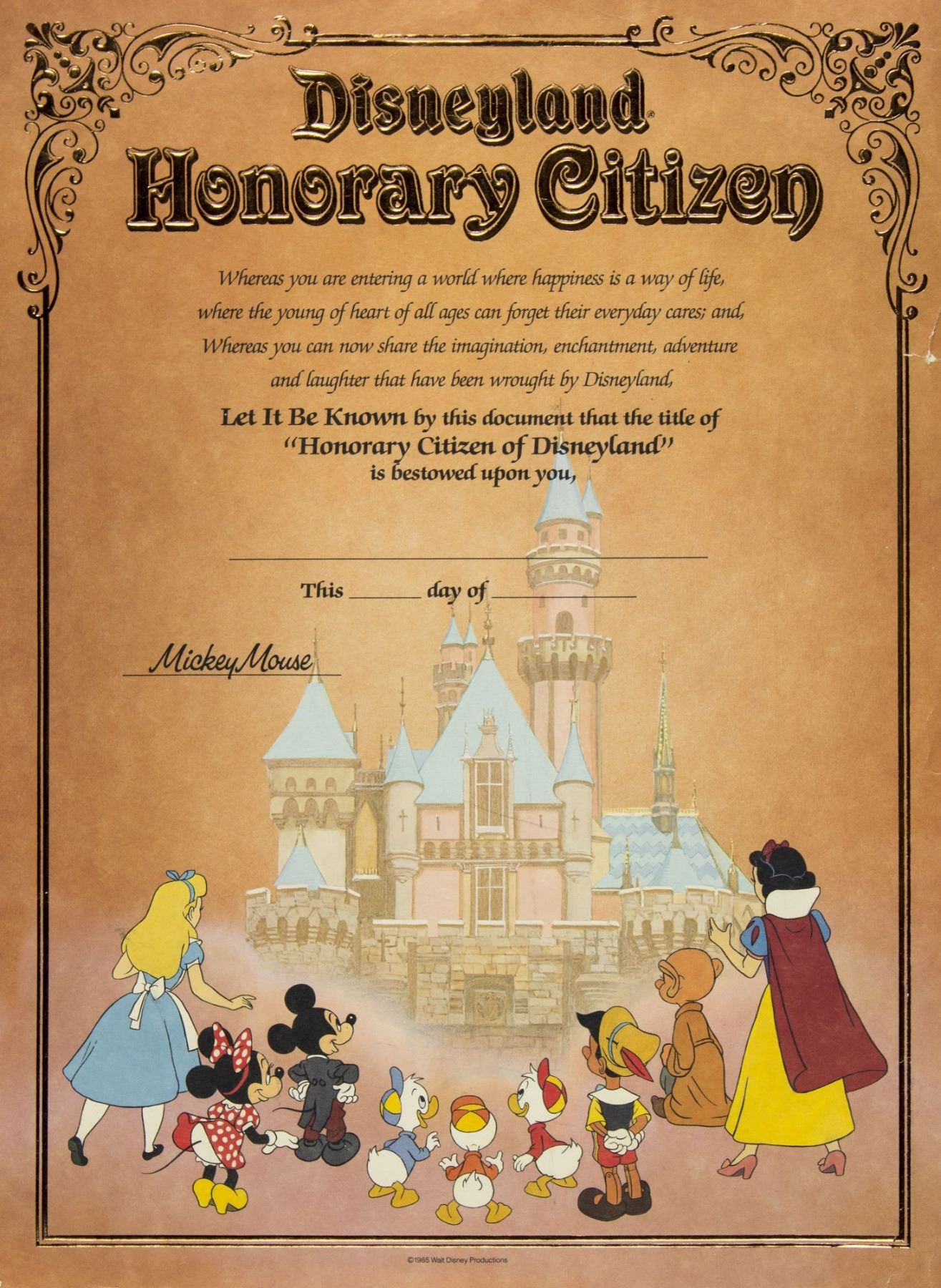 Disneyland Honorary Citizen Certificate