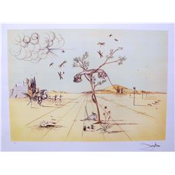 Salvador Dali DISEMBODIED TELEPHONE IN THE DESERT   Limited Edition Plate Signed Lithograph W/COA 32