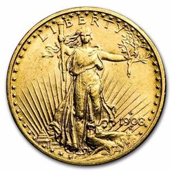 1908-D $20 Saint-Gaudens Gold Double Eagle No Motto