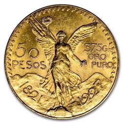 1927 Mexico Gold 50 Pesos BU 1.2057 oz. of Gold