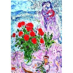 """Chagall 'Red Bouquet"""" Ltd Edition Plate Signed Lithograph W/COA, 32""""x24"""""""