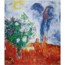 """Chagall 'Couple Above St Paul"""" Ltd Edition Plate Signed Lithograph W/COA, 32""""x24"""""""
