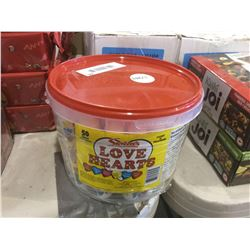 Bucket of 50 rolls Love Hearts Candy