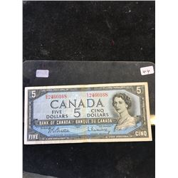 1954 BANK OF CANADA $5 NOTE!