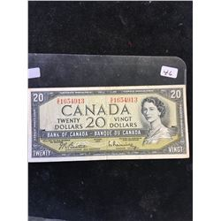 1954 BANK OF CANADA $20 NOTE! NICE GRADE VF,BEATTIE/RASMINSKY