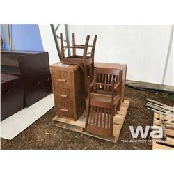 (3) WOOD CHAIRS, FILE CABINET