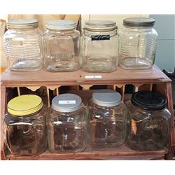 EIGHT VINTAGE GLASS CANNISTERS