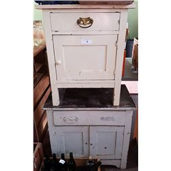 TWO VINTAGE FARMHOUSE WASHSTANDS