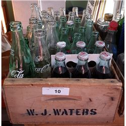 WOOD CRATE W/VINTAGE COCA COLA BOTTLES