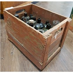 VINTAGE WOOD CRATE & BOTTLES