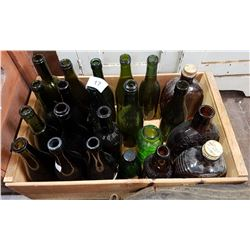 WOOD CRATE W/VINTAGE GREEN GLASS BOTTLES