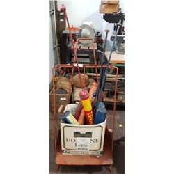 VINTAGE 2 WHEEL SHOP CART W/VINTAGE SPRAYERS/FIRE EXTINGUISHERS