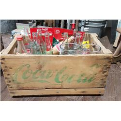 VINTAGE WOODEN COCA COLA CRATE W/BOTTLES