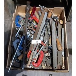 BOX LOT MISC CLAMPS, SCREWDRIVERS, FILES ETC