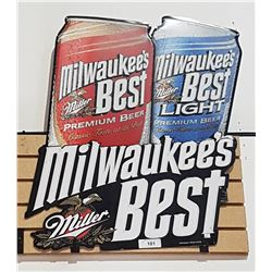 ORIGINAL MILLER MILWAUKEE'S BEST TIN BEER SIGN