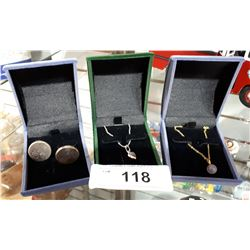 STERLING SILVER CUFFLINKS, STERLING SILVER NECKLACE & PENDANT