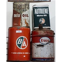 FOUR VINTAGE BA, ESSO & ALLSTATE OIL CANS