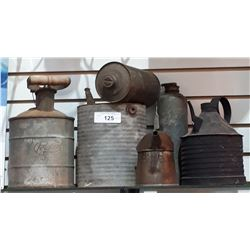 SIX PCS ANTIQUE OIL CANS & FUEL CANS