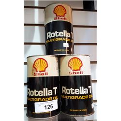THREE SHELL ROTELLA T OIL QUARTS-FULL