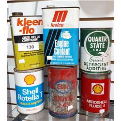 SIX PC LOT OIL CANS