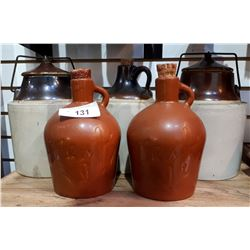 FIVE PCS ASSORTED CROCK JUGS